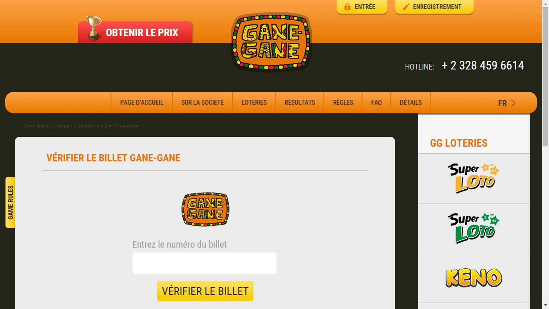 Gane Gane alpha version - A lottery in English and French